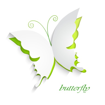 to cut: Eco concept - green butterfly cut the paper - abstract background