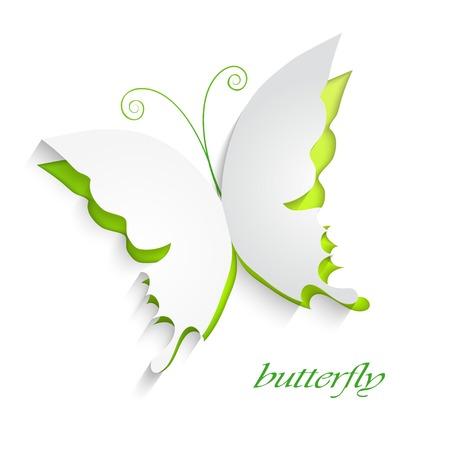 schneiden: Eco-Konzept - gr�ne Schmetterling schneiden Sie das Papier - abstrakte Hintergrund