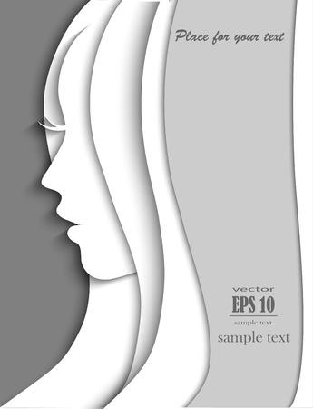 Beautiful woman silhouette, vector portrait