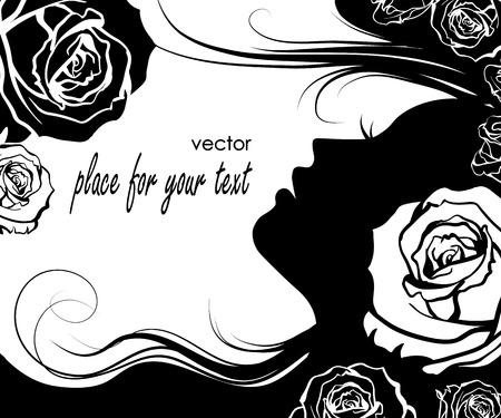 Elegance women with roses Illustration