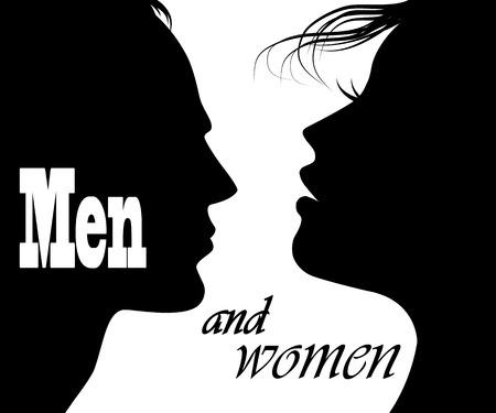 man en vrouw gezichten profielen Stock Illustratie