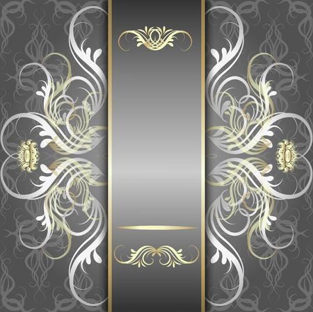 Vintage, elegant background, antique, victorian silver, floral ornament, baroque frame, beautiful invitation, classical old style card, ornate page cover, royal luxury, ornamental pattern template Vector
