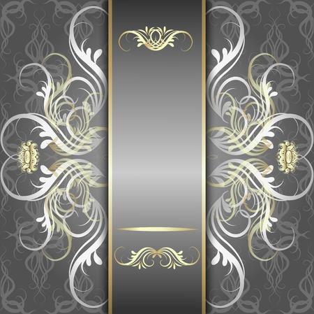 bodas de plata: Vintage, fondo elegante, antig�edad, plata victoriana, ornamento floral, marco barroco, bella invitaci�n, tarjeta cl�sica del viejo estilo, cubierta p�gina adornado, lujo real, plantilla patr�n ornamental Vectores