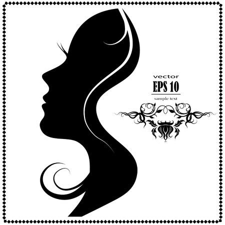 silhouette fleur: Belle silhouette de visage de femme de profil. Illustration