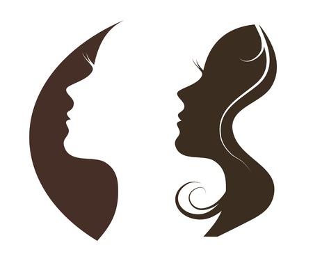 Donna di chat logo vettoriale modello di progettazione. Ragazza silhouette - cosmetici, bellezza, salute; spa, temi di moda. Icona creativa. Logo