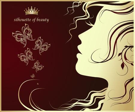 vrouwelijk profiel, Silhouet van mooi meisje