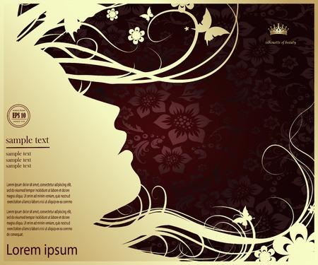 silhouette of a woman's profile, female profile Illustration