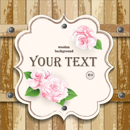 Romantic floral frame background Valentines day backgroundPink roses on wooden background