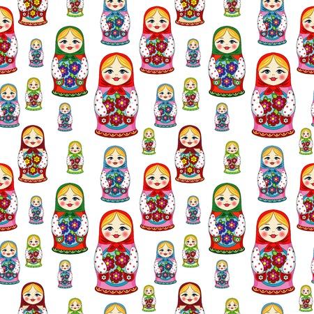 Russische pop Matryoshka folk naadloos patroon Stock Illustratie