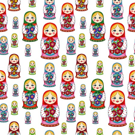 Russian doll Matryoshka folk seamless pattern Illustration