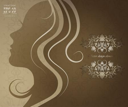 Vector close-up portret van een meisje met mooie haren