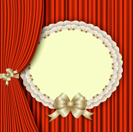 recital: background for invitations with elegant lace, gold bow and red theater curtain