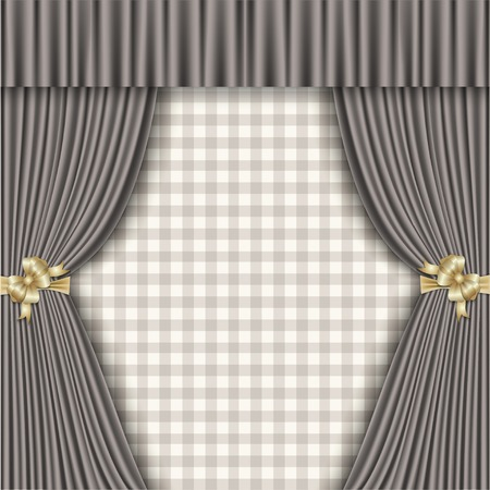 homecoming: rustic background with curtains and checkered background Illustration