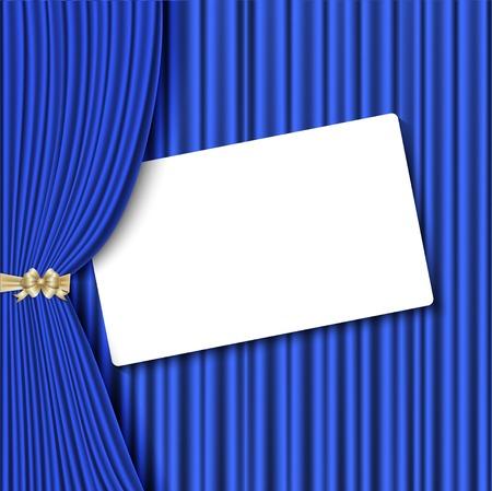 terciopelo azul: Fondo con la cortina de terciopelo azul y la mano. Vector