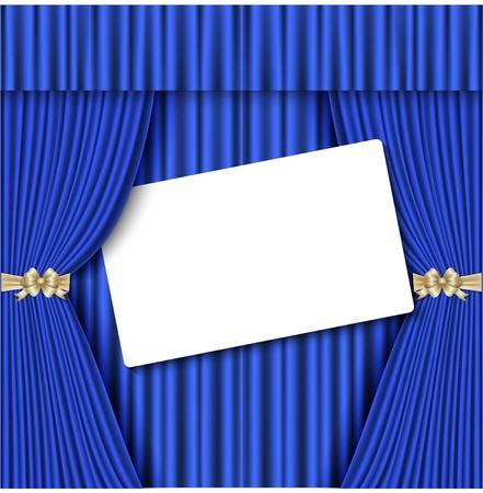 Theatrical curtain of blue color Illusztráció