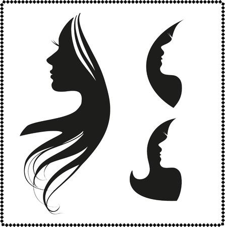 retratos: Jogo do vetor da silhueta da mulher com cabelo estilo Ilustra��o