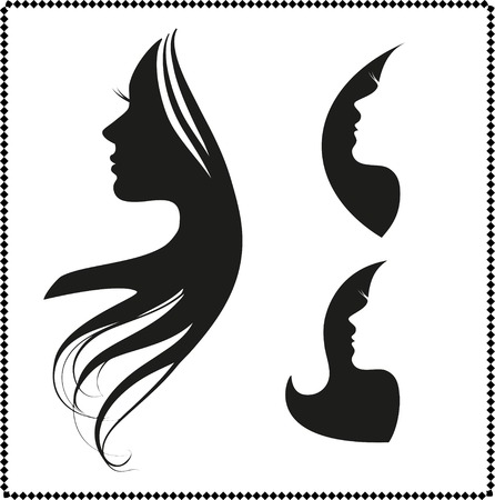 long hair: vector set of woman silhouette with hair styling