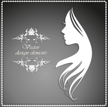 womanish: Vector illustration of Womans silhouette with beautiful hair