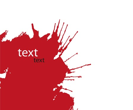 Bright red splash on white background. Vector illustration.