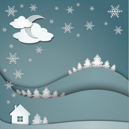Happy Holidays greeting banner, winter background of snowflakes trees house stickers Vector