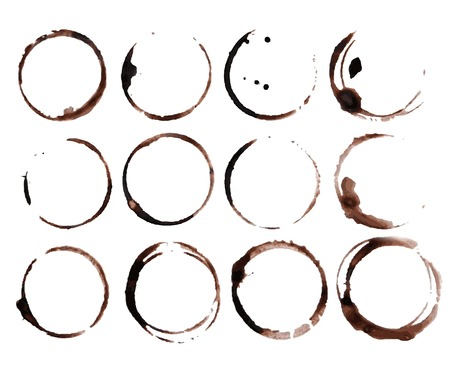 drink coffee: Coffee Stain Rings Vector Illustration