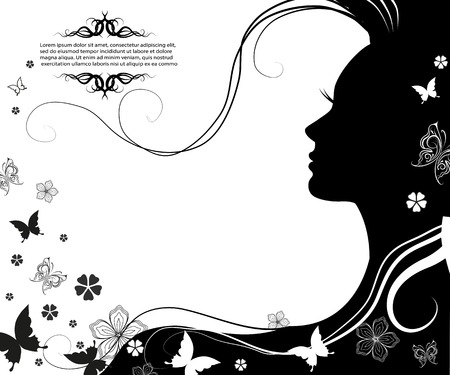 Vector illustration of Womans silhouette with beautiful hair