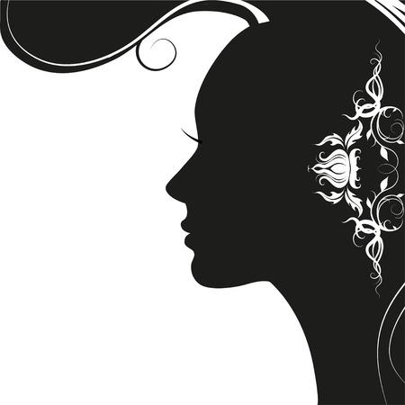 Vector illustratie van de vrouw silhouet met mooi haar. kapsel