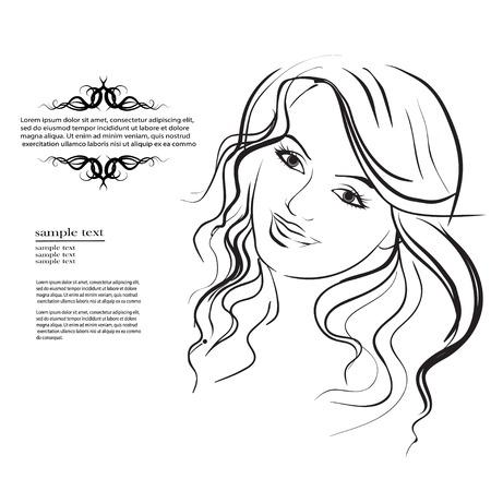 pelo ondulado: eps hermosa mujer con pelo largo y ondulado