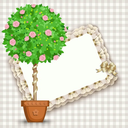 arts and crafts: Stylized tree in pot, vector stylized bonsai.  Design elements for gifts, invitations, arts, crafts.