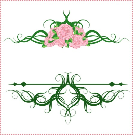 vignettes: Vintage calligraphic vignettes with pink roses. Vector illustration.