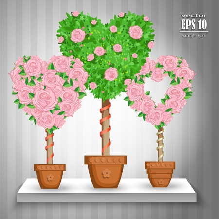potting soil: Tree set with heart flowers in the pot. Vector illustration