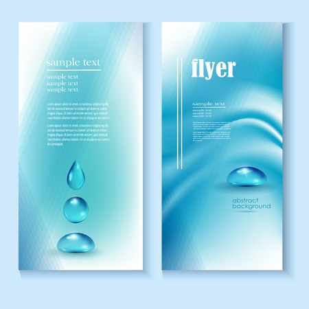 fresh water splash: Water drops vector ecology background, leaflet template for your business presentation