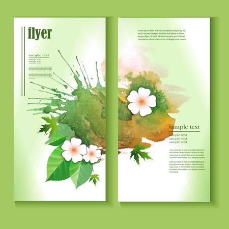 Set of Vector  Banners with Green Watercolor  Splash. Abstract Background for Business,  Flyers and Posters.