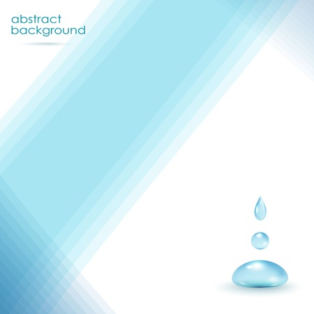 Realistic waterdrops on blue background - vector illustration.