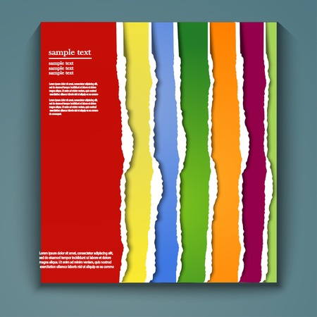 lacerated: Set of lacerated bright papers in cmyk colors, vector illustration