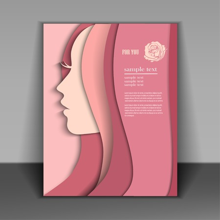 silhouette of a women on pink background for Happy Womens Day. Иллюстрация