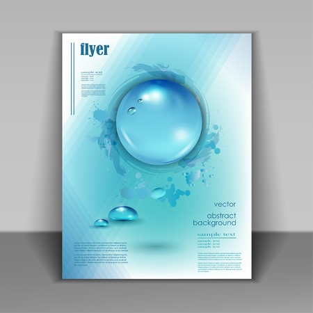 Water drops vector ecology background, leaflet template for your business presentation