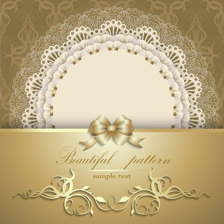 Elegant template luxury invitation, gift card with lace ornament, ribbon, silk bow, place for text. Floral elements, ornate background. Vector illustration EPS 10. Illusztráció