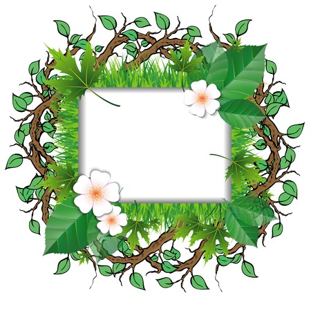 Green leaf frame illustration with flowers Vector