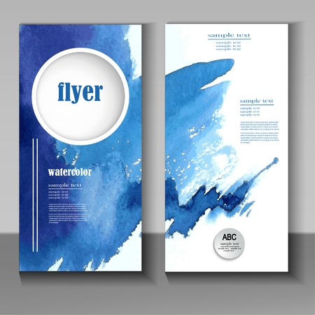 abstract watercolor style brochure design in blue Vectores