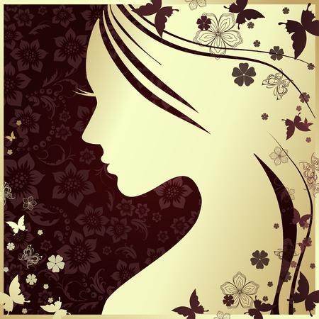 Vector illustratie van de vrouw silhouet met mooie haren Stock Illustratie