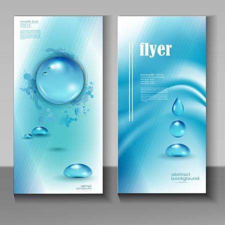 ahorrar agua: Elegante icono de la gota de agua azul con texto agua pura.