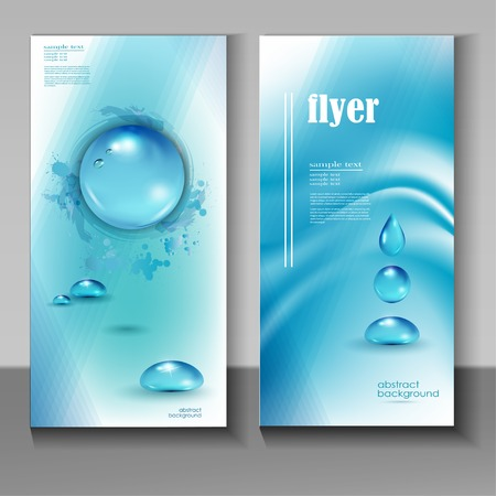 water bubbles: Stylish blue water drop icon with text Pure Water.