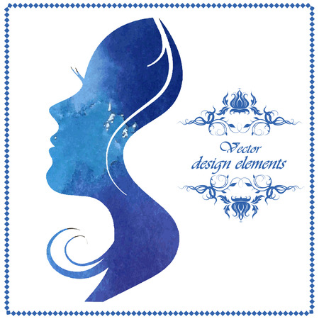 Watercolor beautiful woman silhouette. Vector illustration