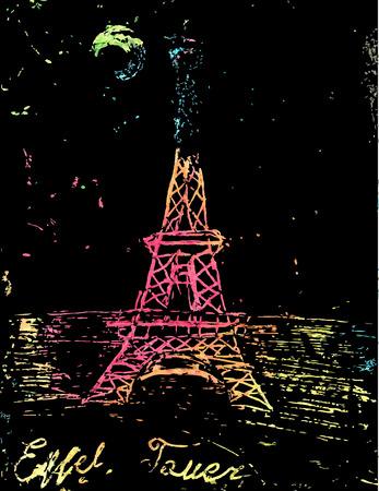 tv tower: Hand drawn Eiffel Tower. Paris, vector illustration