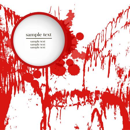 Grunge background with bright red splash. Vector illustration