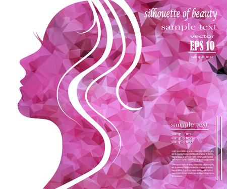 people and nature: Beautiful girl silhouette with colorful hair, vector background. Abstract design concept for beauty salon, spa, cosmetic shop, flyer, brochure, cover, banner, placard.