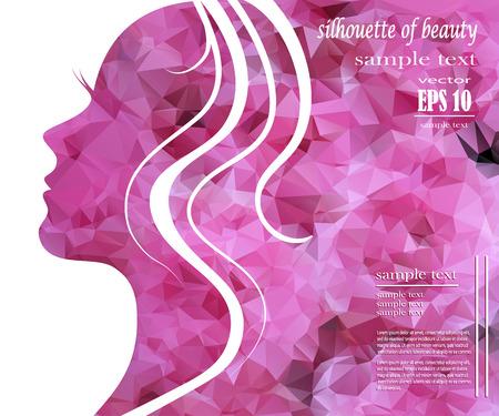 belleza: Silueta de la muchacha hermosa con el pelo colorido, vector de fondo. Concepto de diseño abstracto para el salón de belleza, spa, tienda de cosmética, folleto, folleto, cubierta, bandera, cartel.