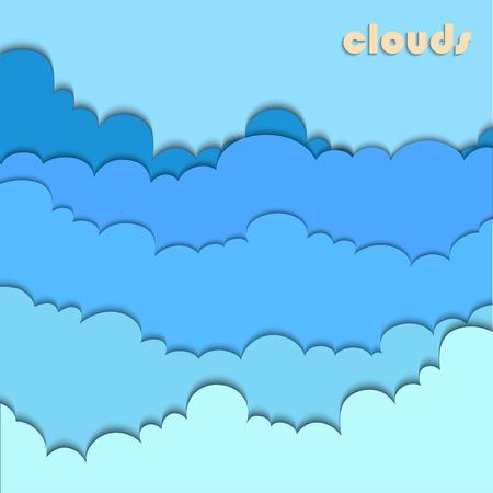 Paper cut clouds background or design template