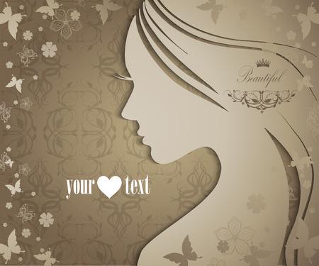 profil: Streszczenie piękne kobiety z kwiatów i motyli Ilustracja